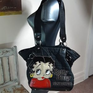 BETTY BOOP black quilted tote
